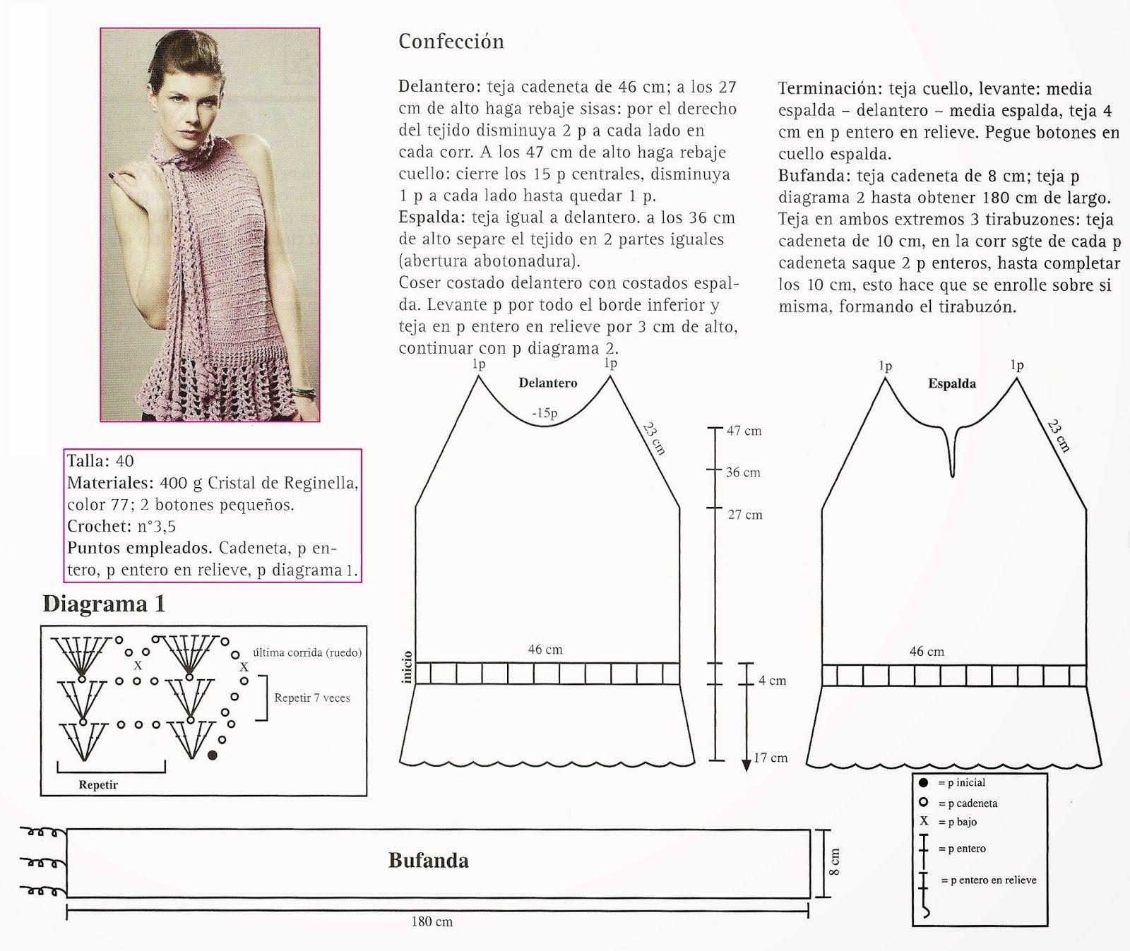 Top sin mangas con Bufanda incluida - Patrones Crochet | Blusas ...
