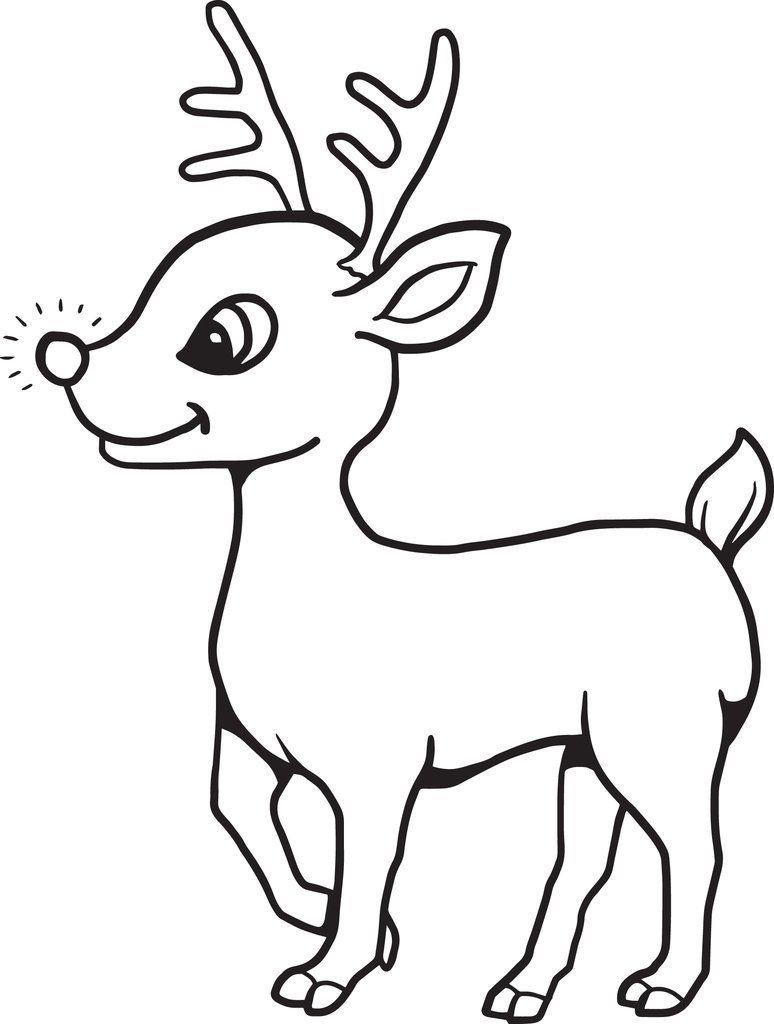 Printable Baby Reindeer Christmas Coloring Page For Kids Rudolph Coloring Pages Christmas Coloring Books Reindeer Drawing