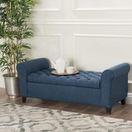 Swell Noble House Amanda Dark Blue Fabric Armed Storage Bench Evergreenethics Interior Chair Design Evergreenethicsorg