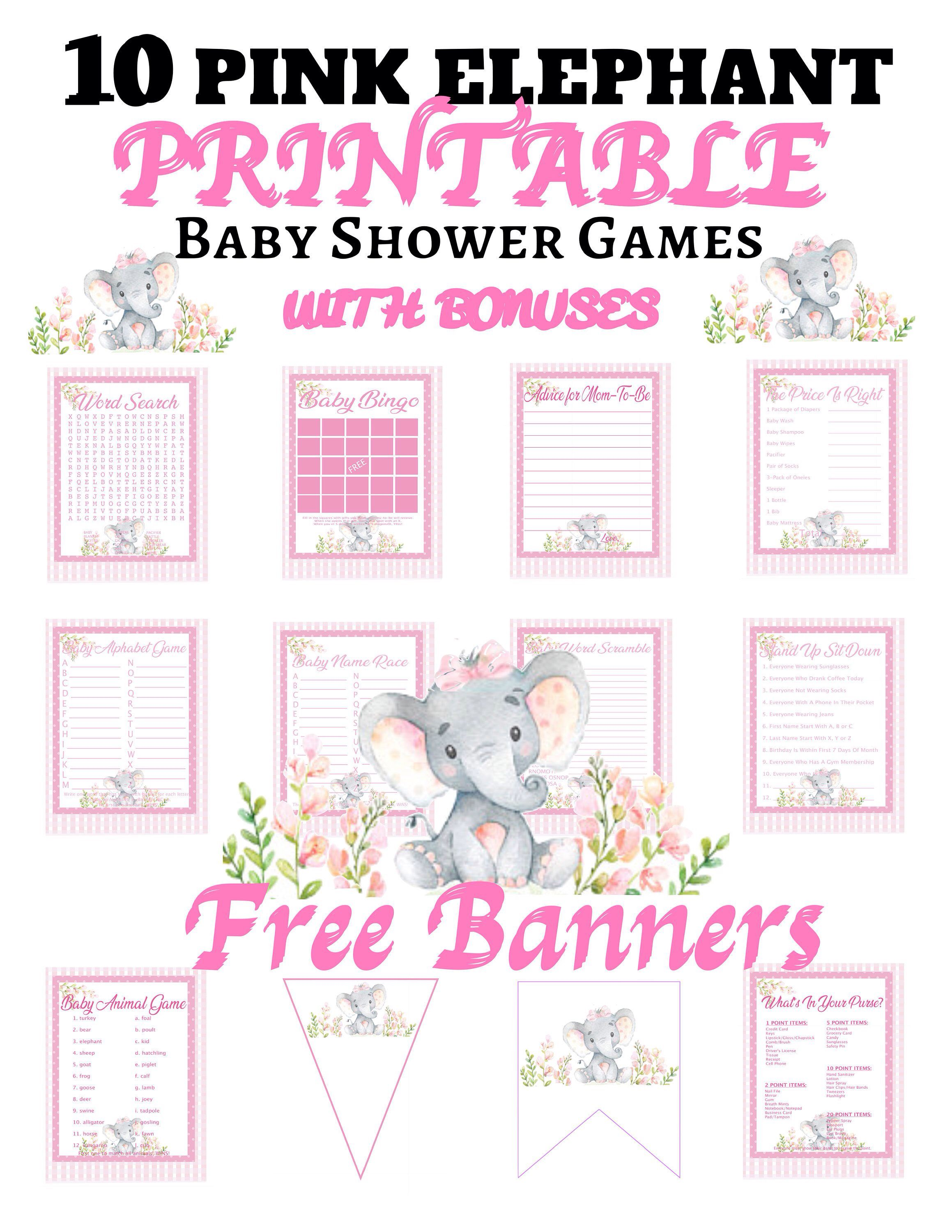 Pink Elephant Baby Shower Free Printables : elephant, shower, printables, Elephant, Shower, Games/10, Set/PLUS, BANNERS/Instant, Printable, Downloa…, Elephants, Shower,, Banner, Girl,