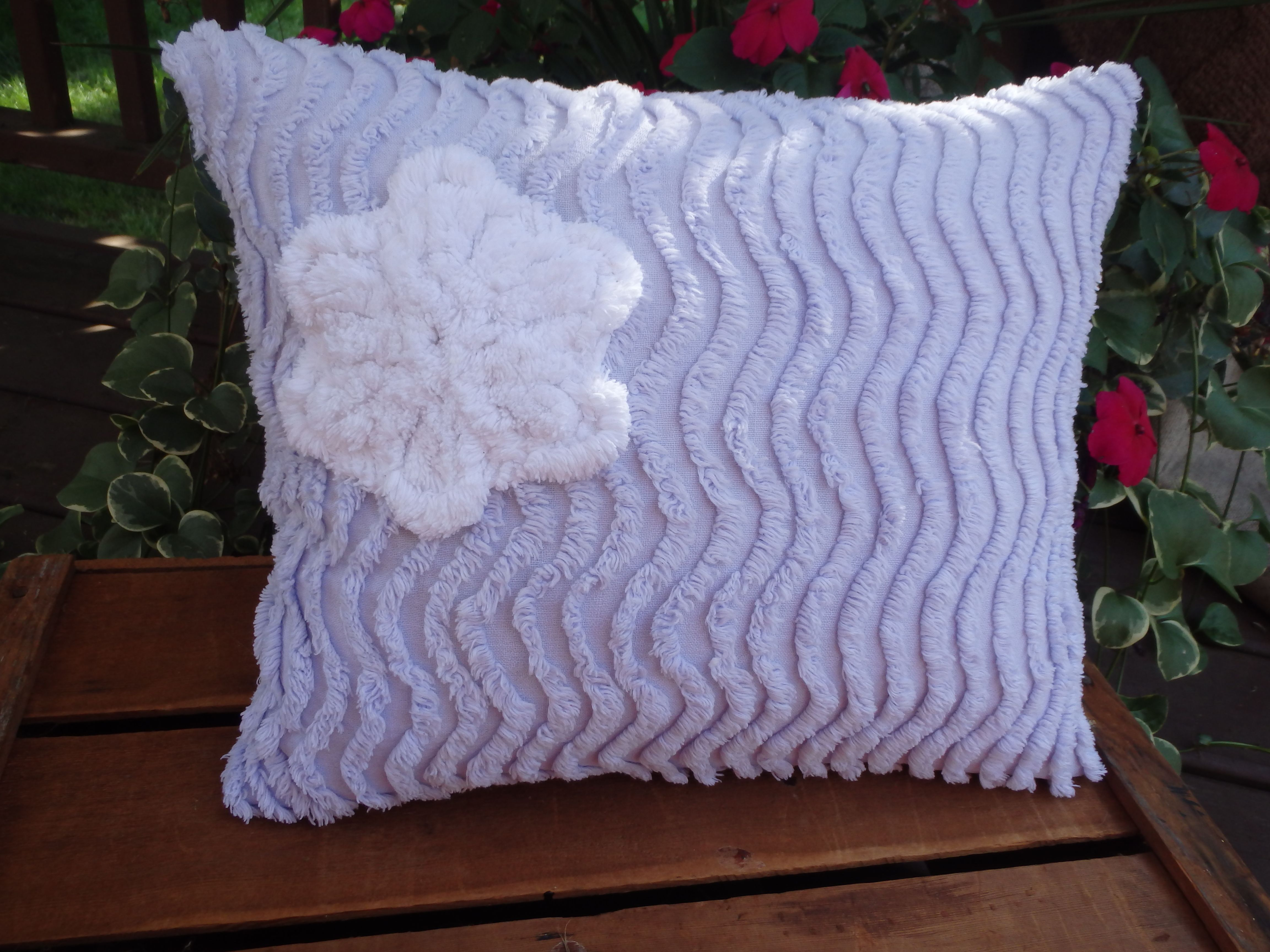 Lavender waves pillow fun lavender chenille with a white chenille