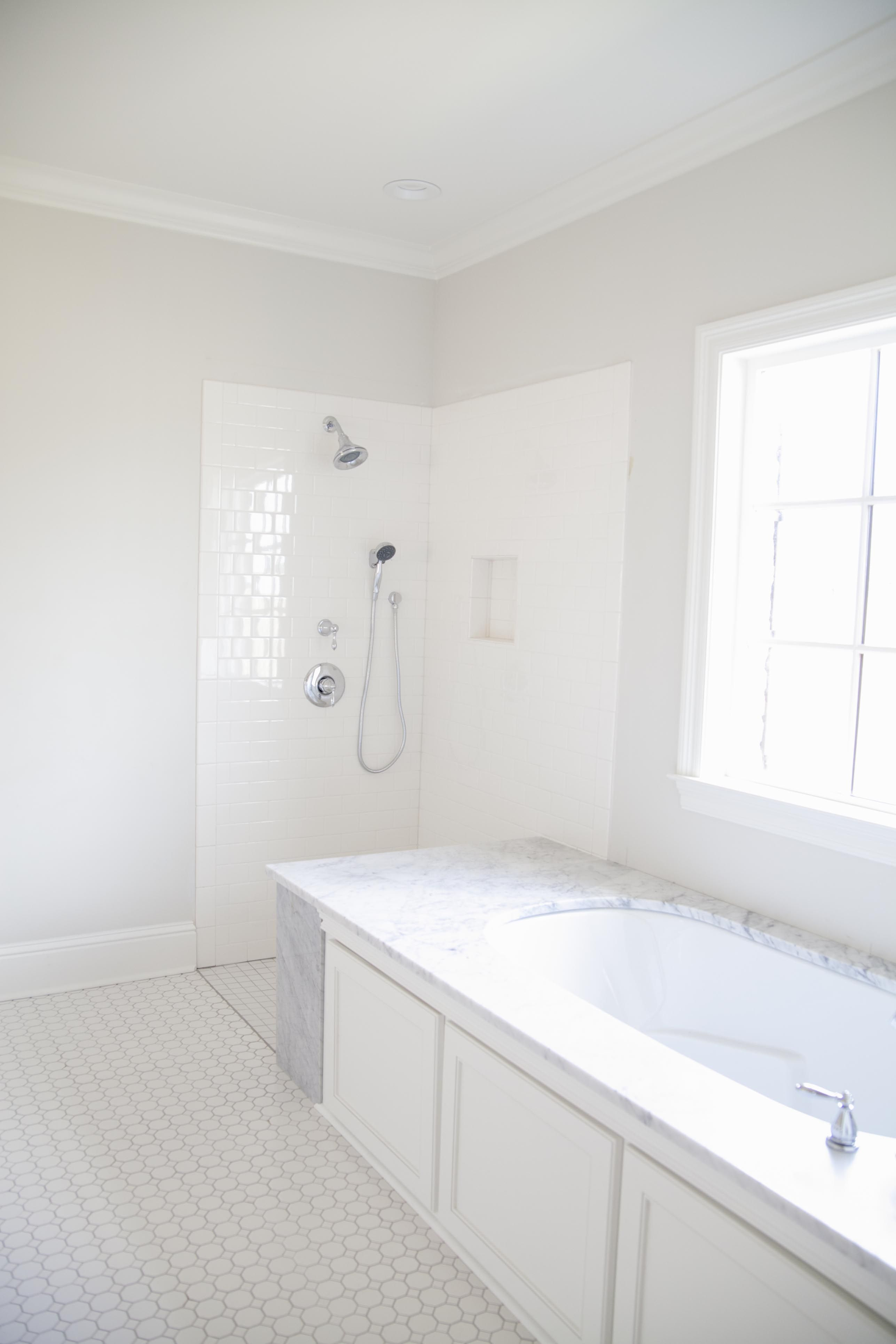 custom white shower with white subway tile | custom showers ...