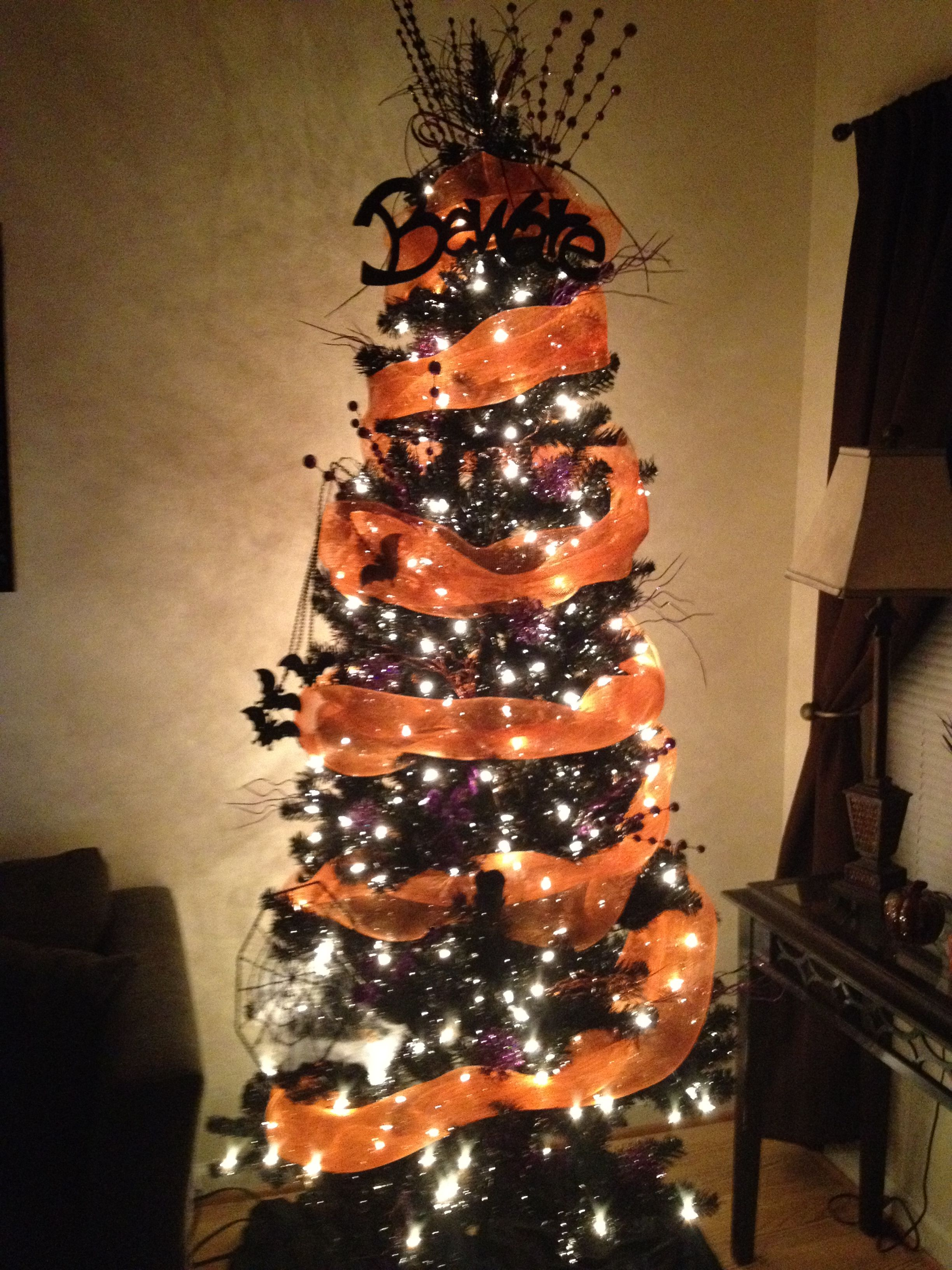 black christmas tree was perfect for making a halloween tree first - Black Halloween Tree
