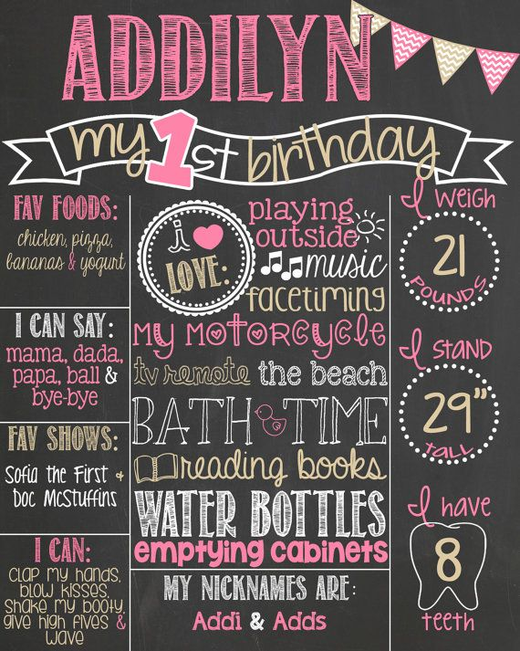 Pink and Gold First Birthday Chalkboard Poster // Girl 1st Birthday Chalk Board // Custom Printable // Boy or Girl // Chevron Bunting on Etsy, $37.00