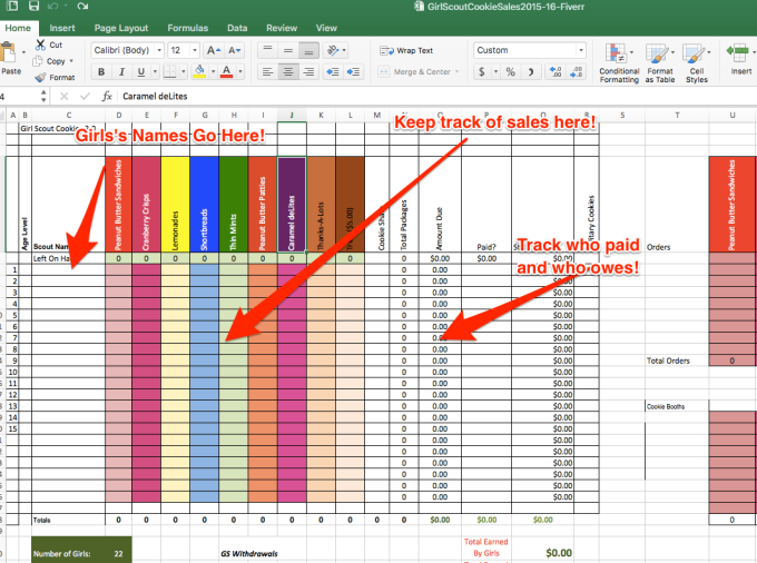 Create a spreadsheet to calculate girl scout cookie sales | Girls