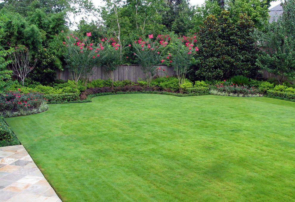 Small Back Yard Landscaping Ideas: Crape Myrtle Landscape Mediterranean With Grass Decorative Garden Fencing