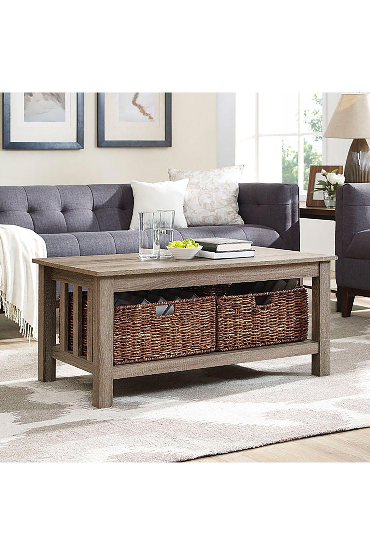 Walker Edison Furniture Company 40 Driftwood Storage Coffee Table