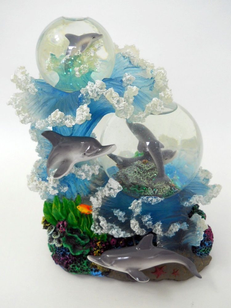 Dolphin Musical Snow Globe Dome Blue Danube Waltz Twirling Glass Glitter Reef Musical Snow Globes Snow Globes Dolphins