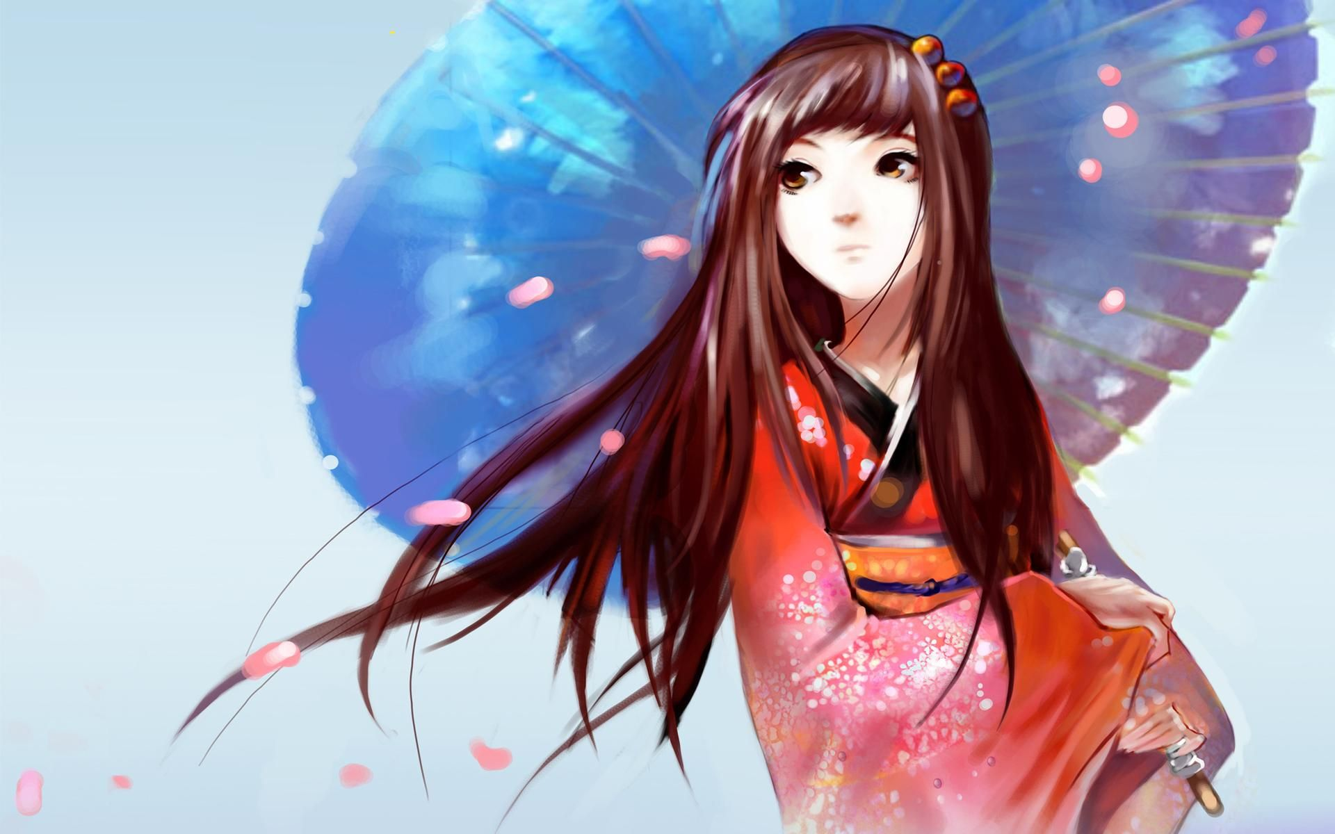 Japan animation japanese anime girl umbrella