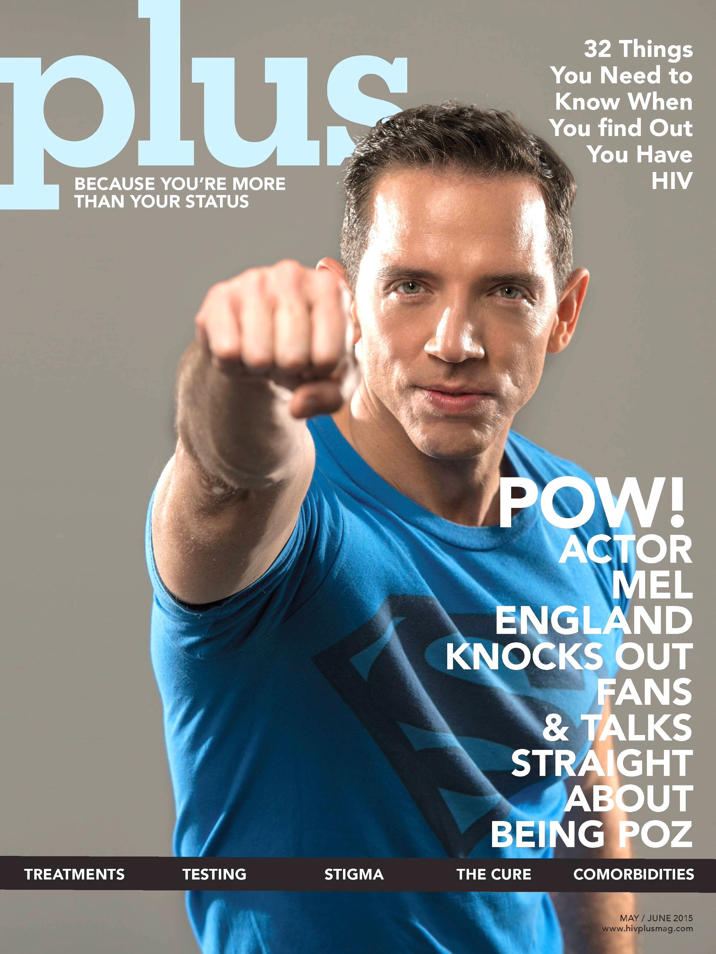 Actor Mel England on the cover of May/June issue of HIV Plus Magazine