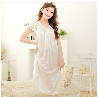 Gratis verzending vrouwen wit kant sexy nachthemd meisjes plus size grote size nachtkleding nightgownY02-1