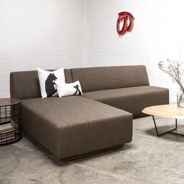 Gus* Modern Jarvis Bi Sectional In Laurentian Tundra With The Wireframe End  Table And
