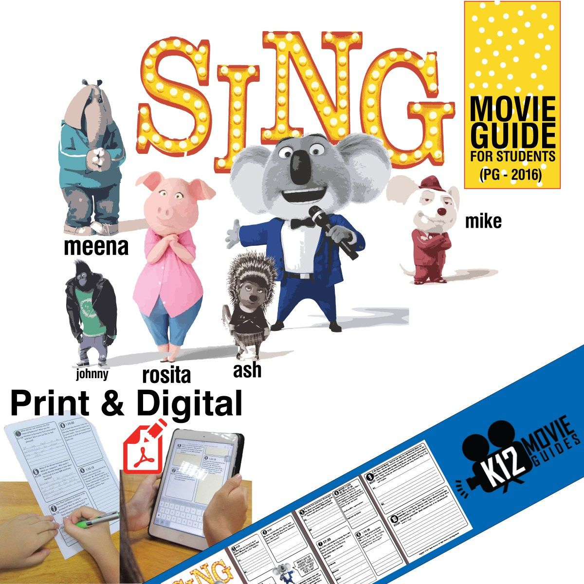 Sing Movie Guide Questions Worksheet Pg