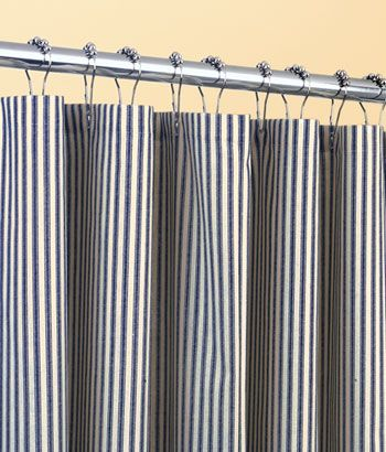 Ticking Stripes Shower Curtain Comes In A Variety Of Colors Including Navy Light Blue Natural And S Striped Shower Curtains Curtains Ticking Stripe Curtains