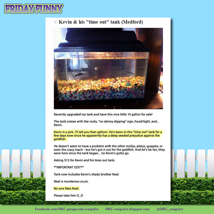 Funny Craigslist Ads Naughty Fish And His Time Out Tank For Sale On Craigslist Funny Craigslist Ads Funny Ads Funny