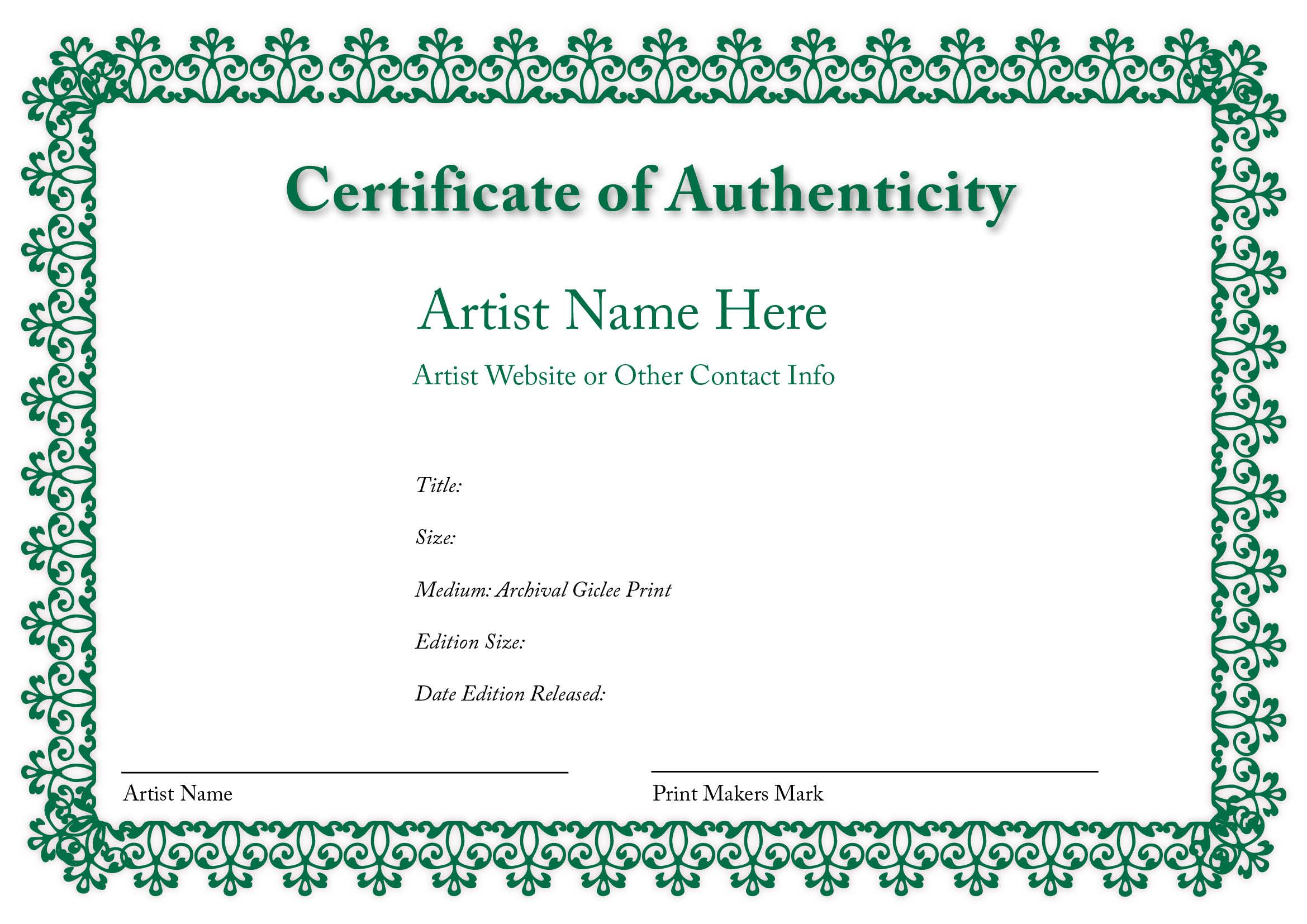Blank Certificate Of Authenticity Limited Edition Prestige Your ArtworkNetwork Marketing Materials Collectors Photographers