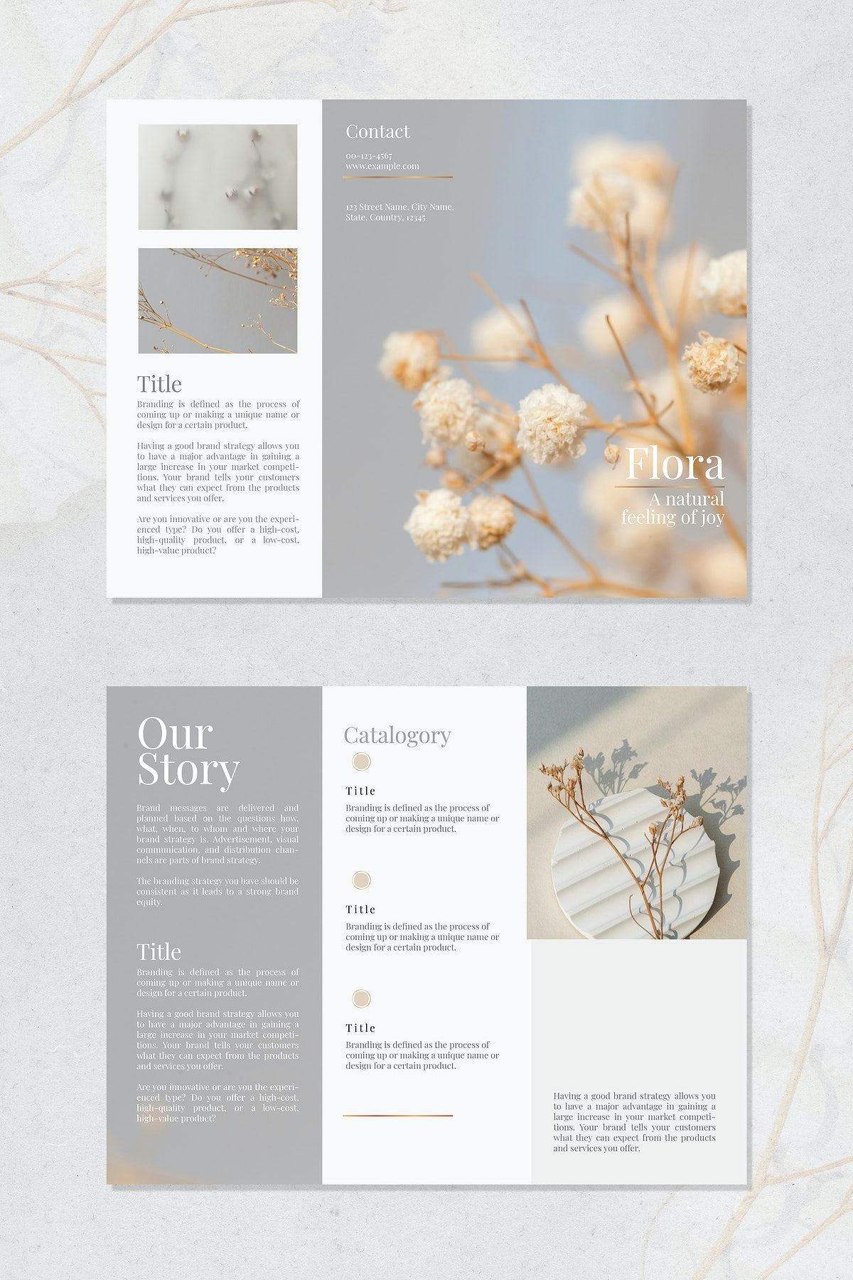 27 Download premium vector of Flower shop brochure template vector by Sasi about brochure, flyer, luxury title, flower shop, and board brand 2403481
