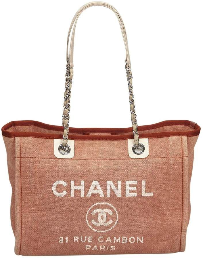 Chanel Deauville Brown Cloth Handbag Chanel Handbag Buy Chanel Handbags
