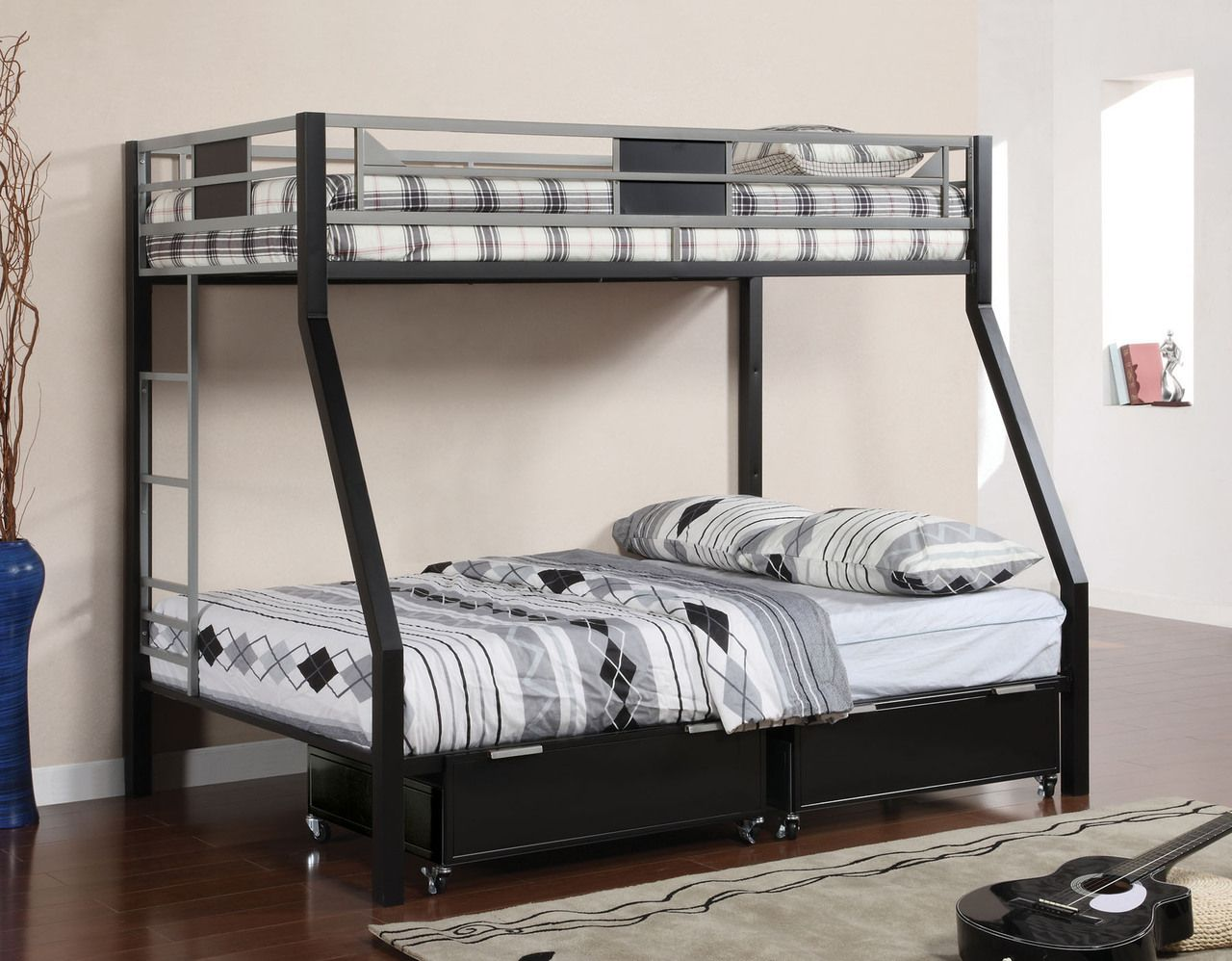 Macarthur Silver Black Twin Full Metal Bunk Frame Bunk Bed With