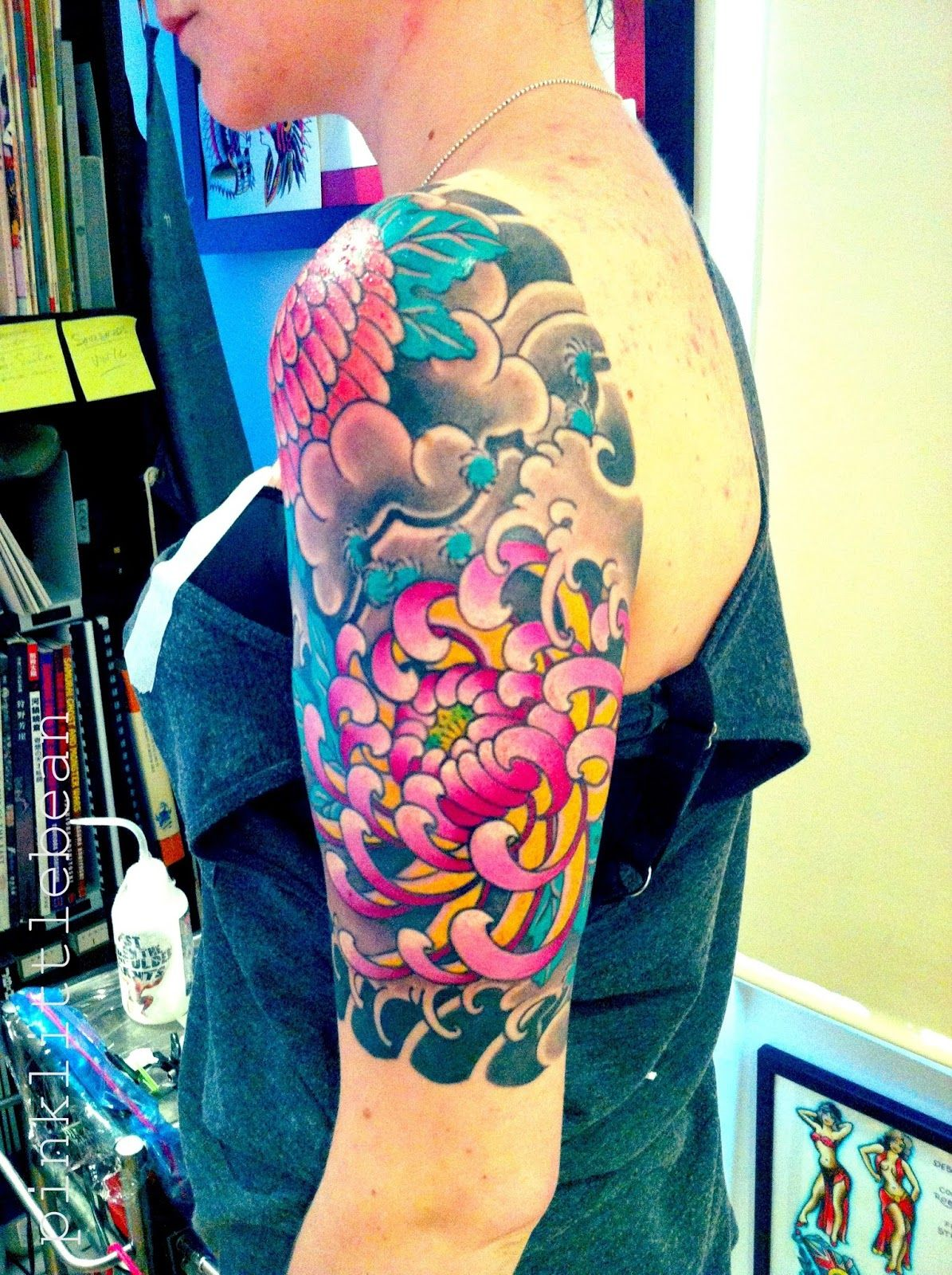 Colourful japanese flower tattoo google search tattoo for Japanese wave and flower tattoo