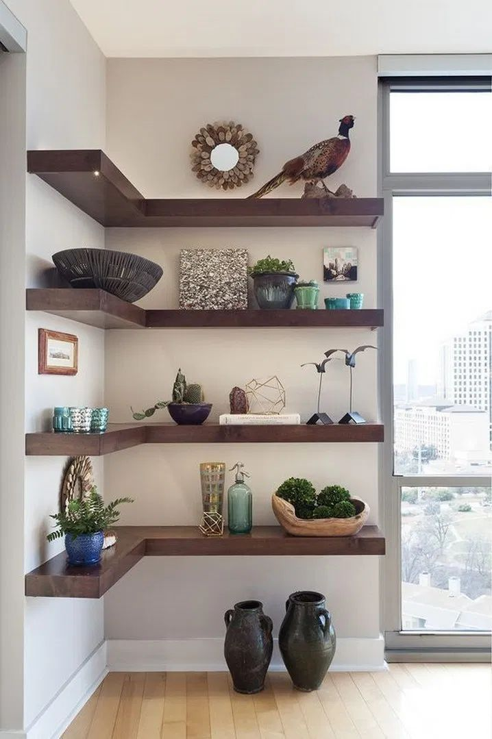 Corner Shelf Ideas in 2020   Shelf decor living room ...
