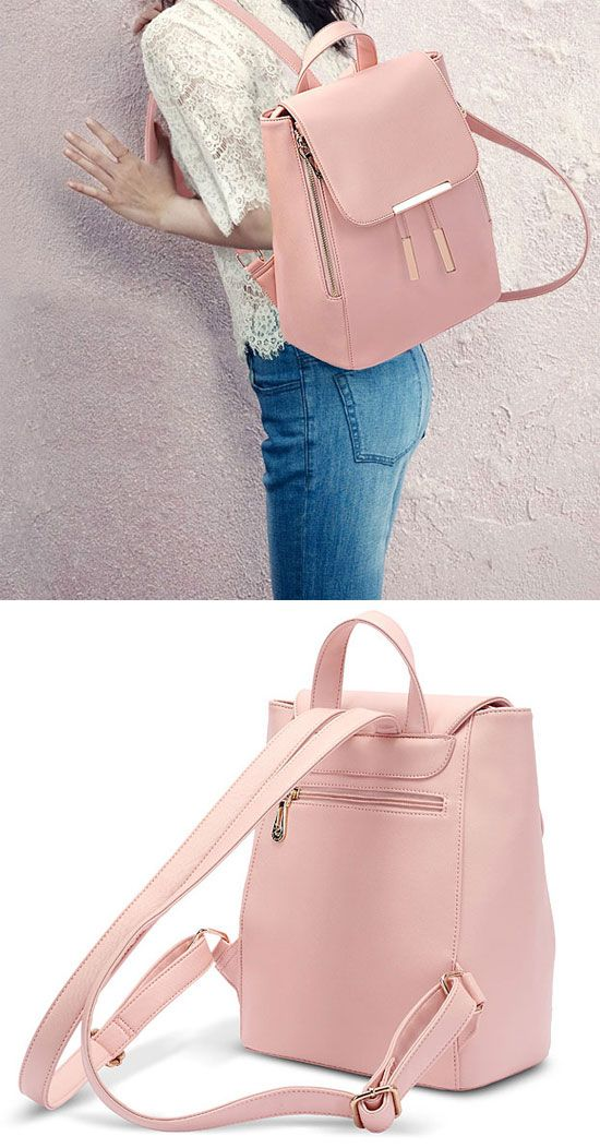 efe34baa37 Elegant Pink Funky Lady Solid Simple Square PU Drawstring Hasp Satchel  Backpack for big sale!  backpack  school  pink college  bag