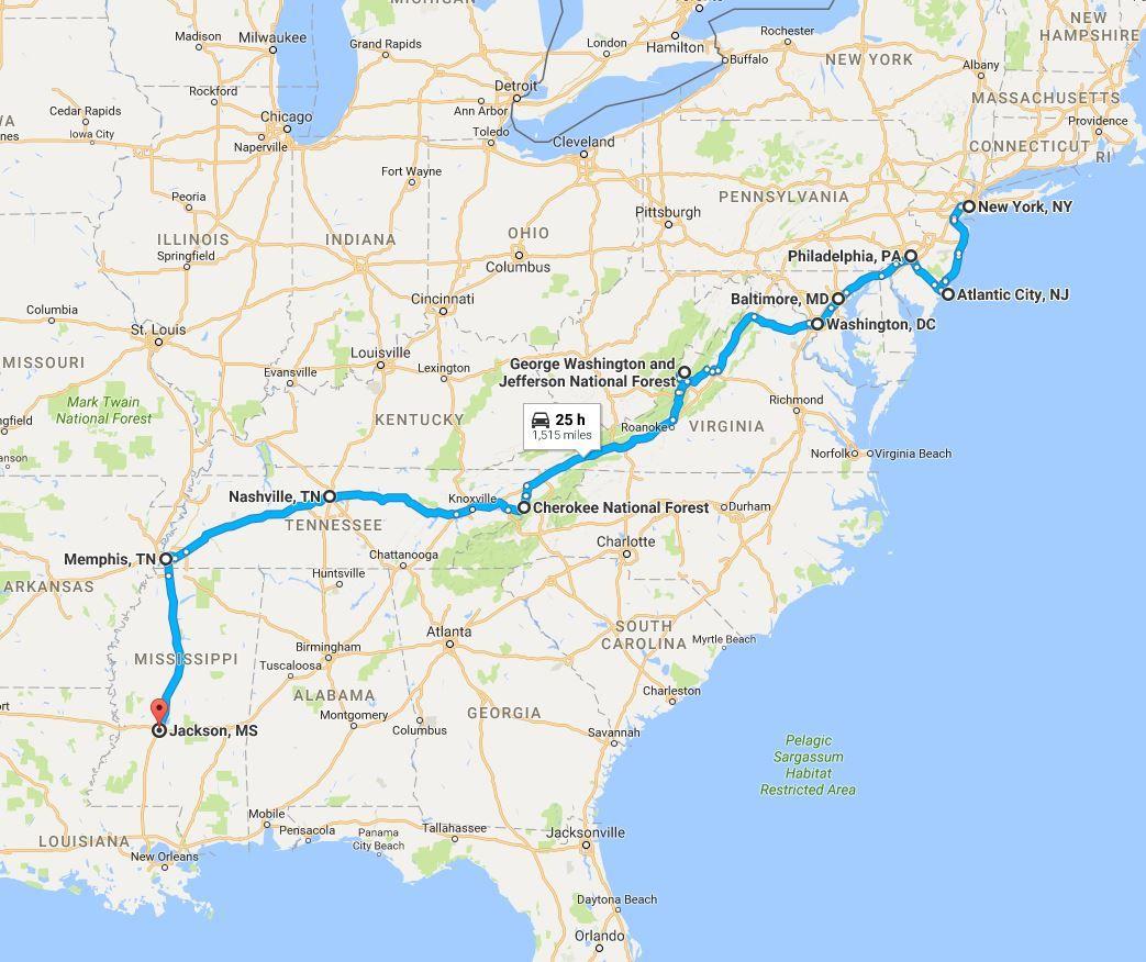 Road Trip Map, Part One: New York City, NY - Jackson, MS ...