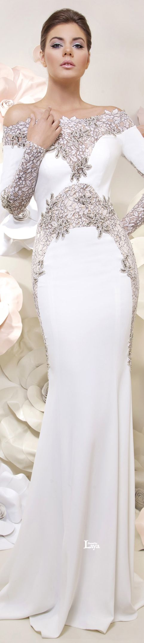Long sleeve cocktail dress for wedding  Tarek Sinno  Spring Formal White Gown w Silver Embellishments