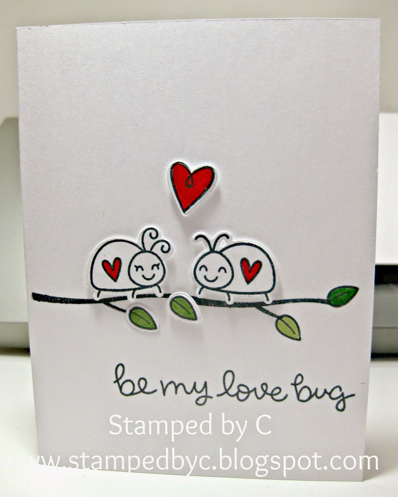 love bug valentine card  made with lawn fawn bugs and