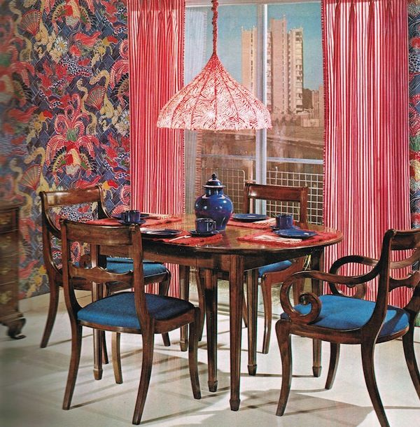 red, blue - dining room- good way to bridge corner between blue ...
