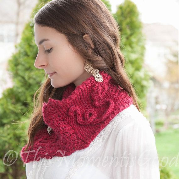 Loom Knit Cowl Pattern With Rose Detail Scarf Shawl Lace Scarf