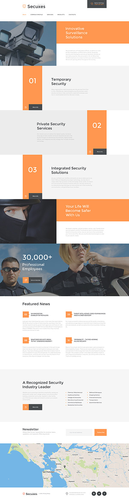 Security Company Website Template Themes Business Responsive