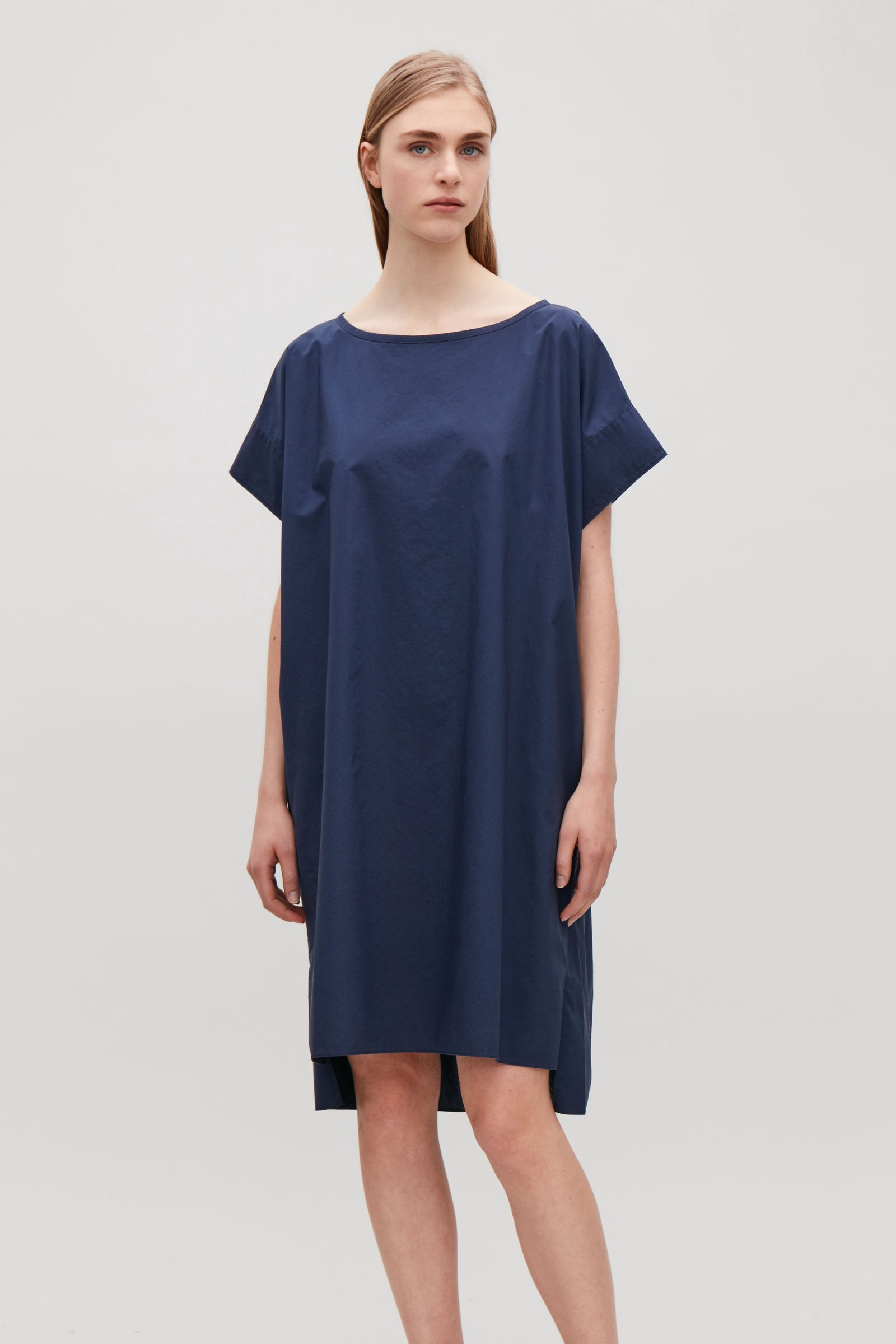 10677e91b16af Cos Trapeze Dress With Back Drape - Navy M | Products | Pinterest ...