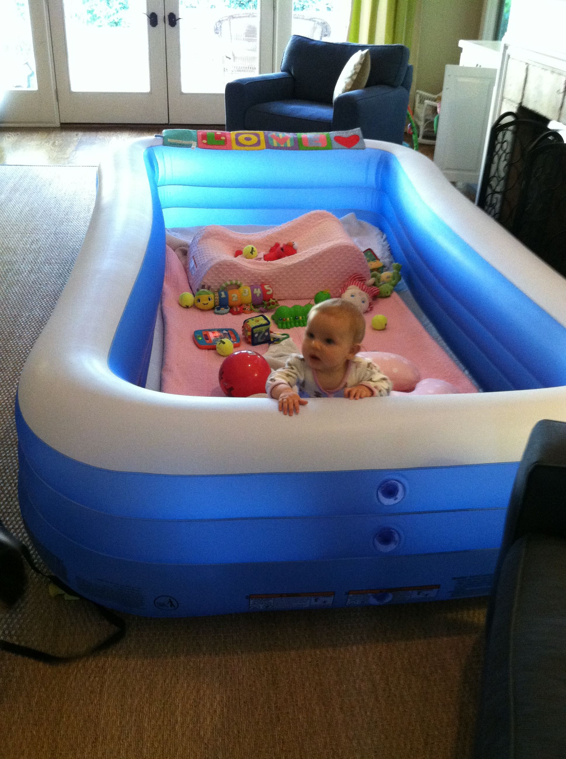 Use An Inflatable Pool As A Playpen For Your Toddler Baby Play Areas Baby Pool Baby Play