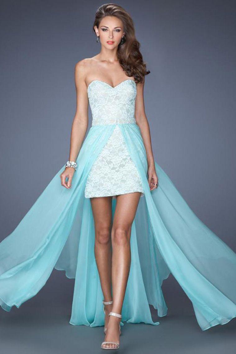 2014 High Low Sweetheart Dress Lace With Detachable Long Chiffon ...