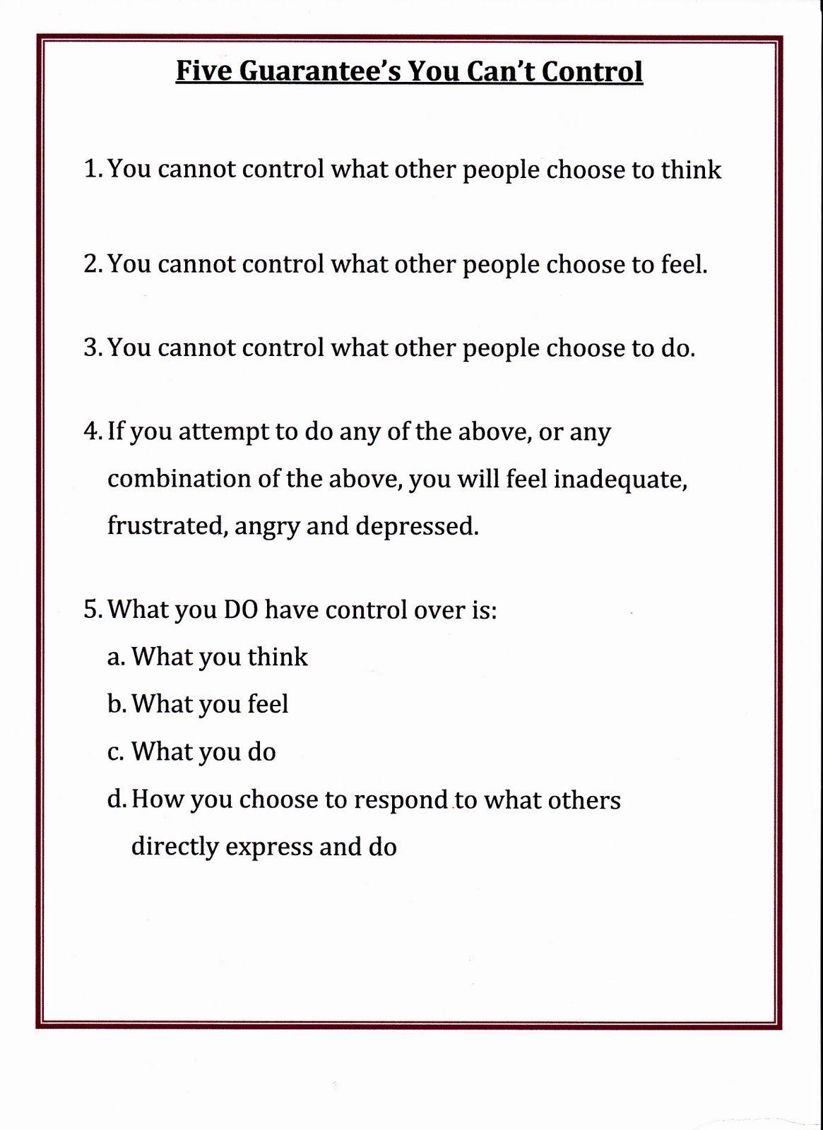 Lorinda Character Education Five Guarantee S You Can T Control