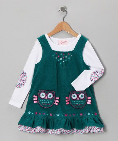 Take a look at this Turquoise Owl Corduroy Jumper Set - Infant, Toddler & Girls by Samara on @zulily today!
