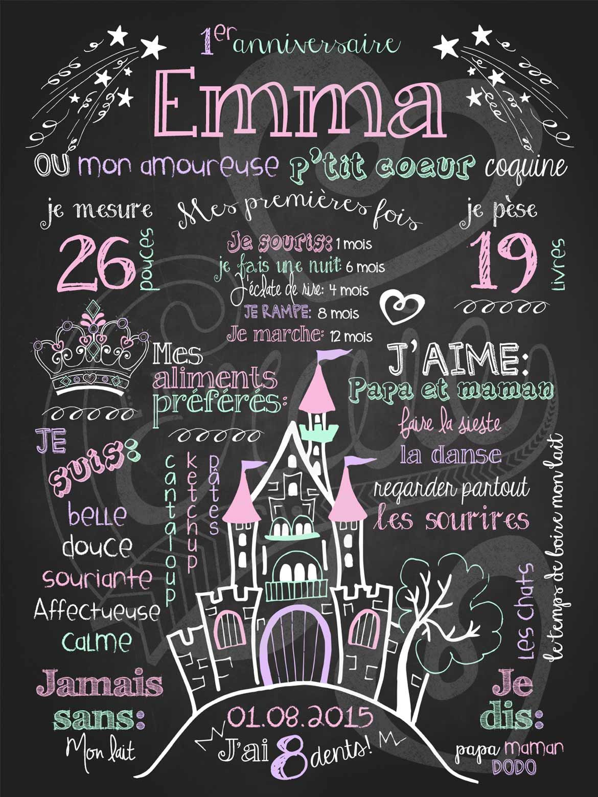 affiche personnalis e 1er anniversaire petite princesse rose 28 00 chalkboard lacraieco. Black Bedroom Furniture Sets. Home Design Ideas