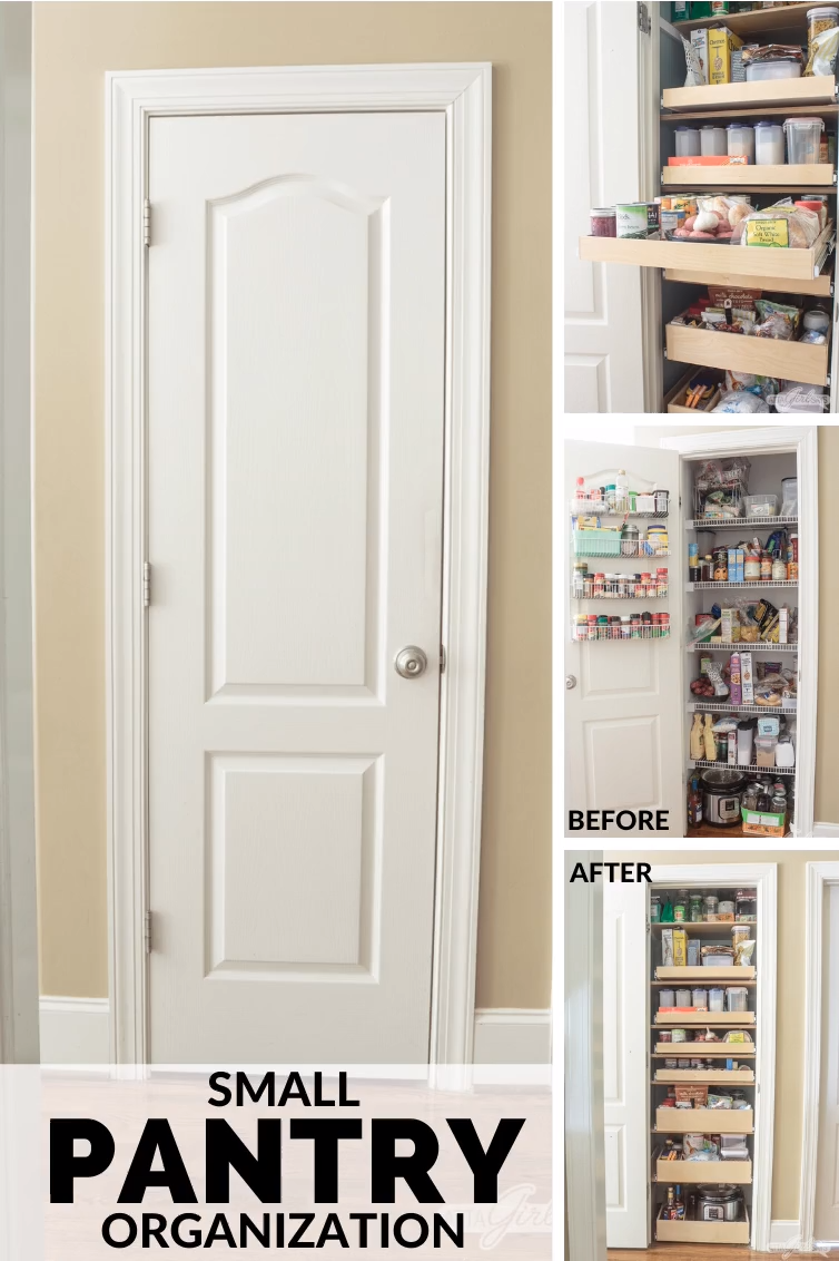 Learn how to maximize your space with these pantry organizing ideas. You'll be amazed at how much you can fit into a small pantry. Having an organized pantry with pull-out shelves will save you time and make dinner prep so much easier. #ad #MadetoMaximize #DesignforSpace #ShelfEnvy #ShelfGenie