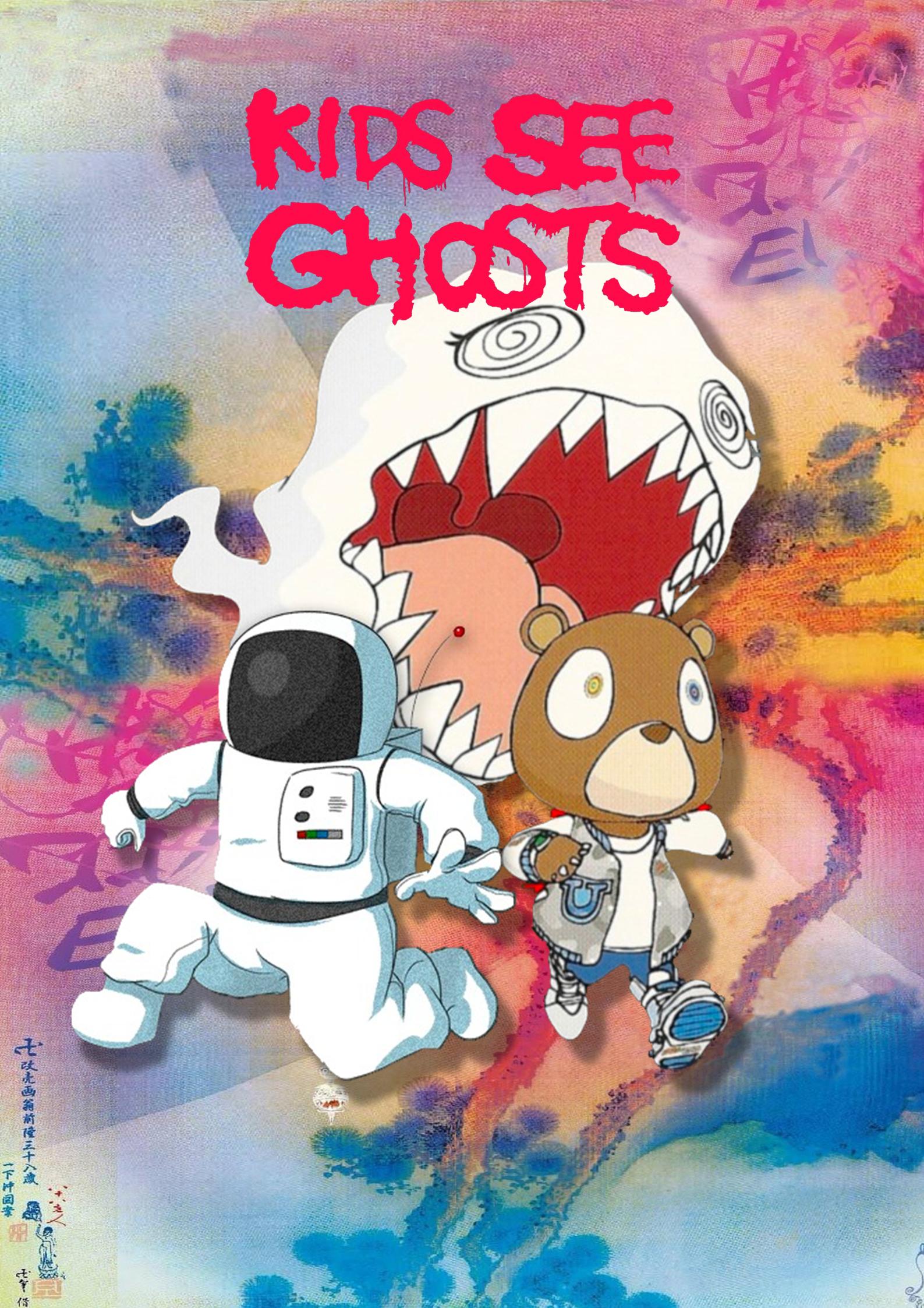 Kanye West And Kid Cudi Kids See Ghosts Poster Etsy In 2020 Kid Cudi Poster Kid Cudi Kanye West Kids