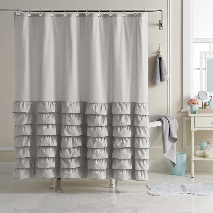 Lc Lauren Conrad Ella Ruffle Fabric Shower Curtain Fabric Shower