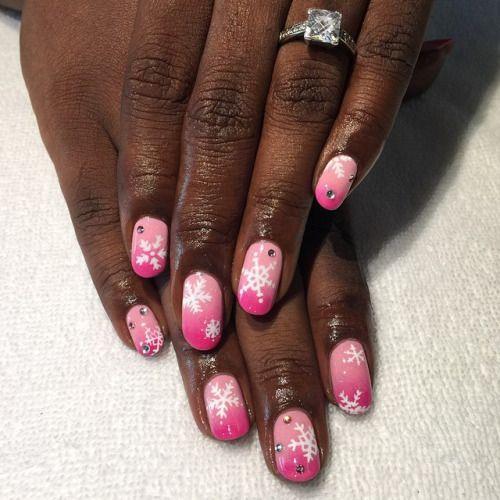 Pink Holiday Nails for @shonacious #nailart #snowflakes #nailpolish…