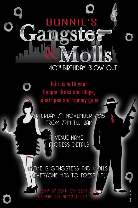 Gangster Moll Birthday Digital Printable Invitation Template – Gangster Party Invitations