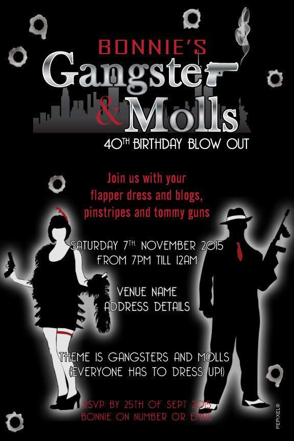 Gangster Moll Birthday Digital Printable Invitation Template