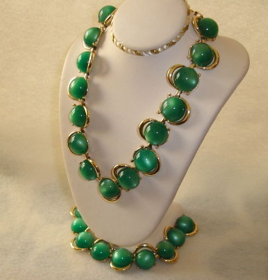 Be sure to wear a bit o' the green Green Moonglow Necklace Bracelet Coro Jewelry Set
