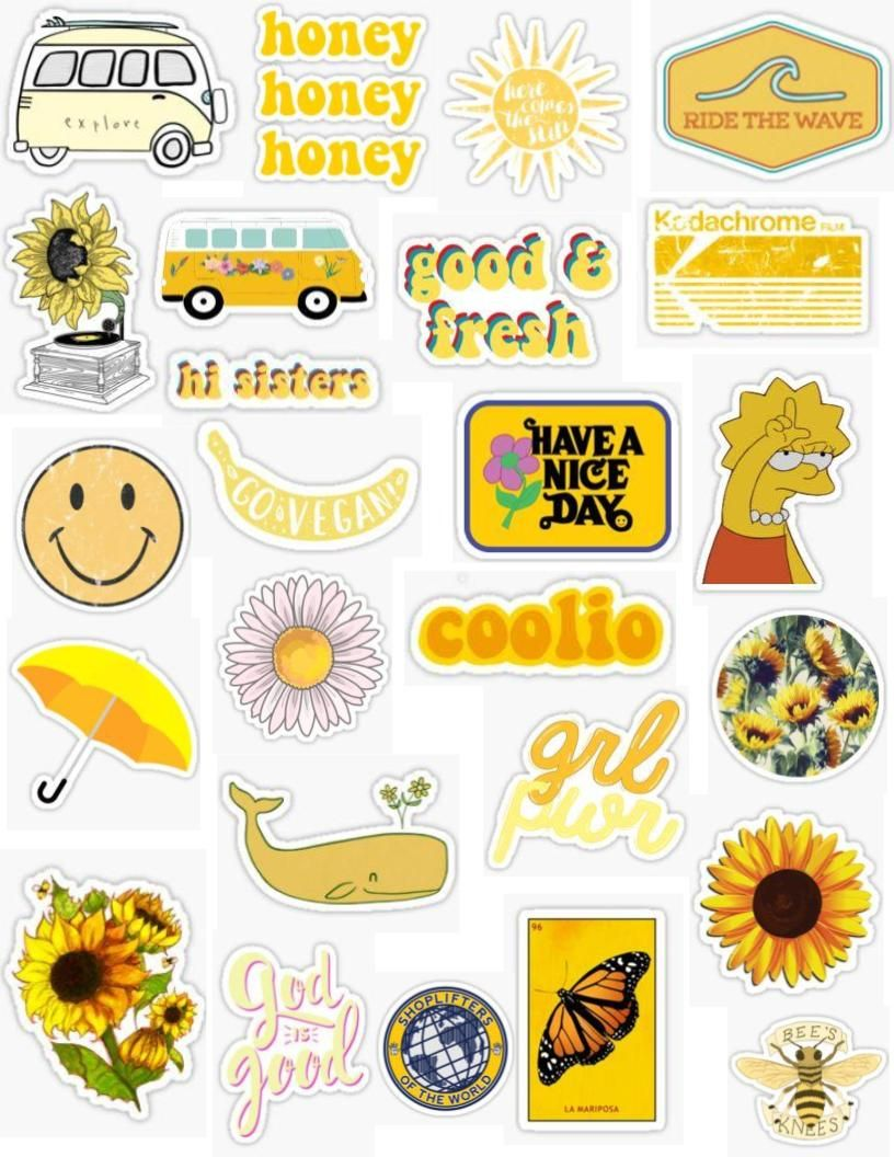 Yellow Vintage Sticker Pack Vintage Retro 90s 80s 70s 60s