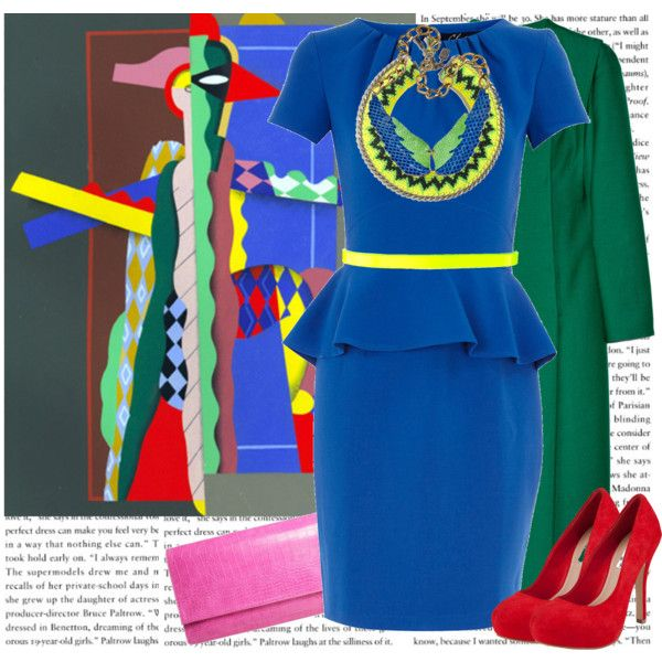 Georges Valmier inspired - bright solid colors - blue peplum dress, green coat, red shoes, yellow belt