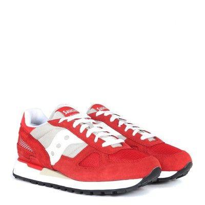 Laterale Sneaker Saucony Shadow in suede e tessuto rosso amaranto
