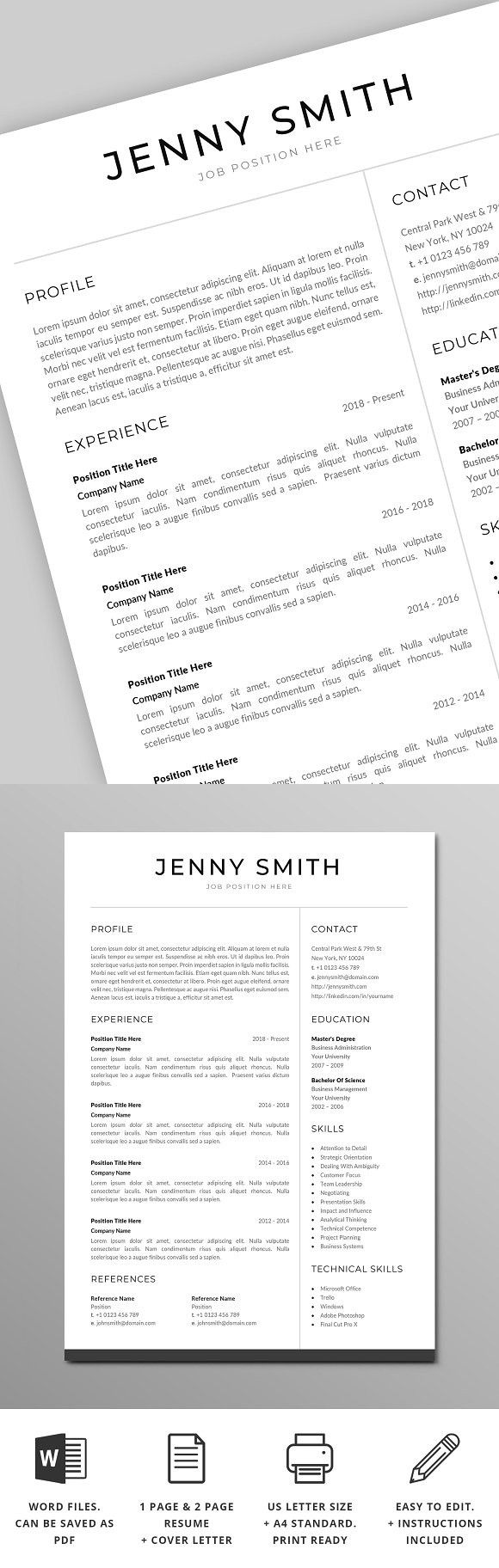 Resume Templates In Word 2018 Resume Template Word Modern Clean Cv  Template Stationery .