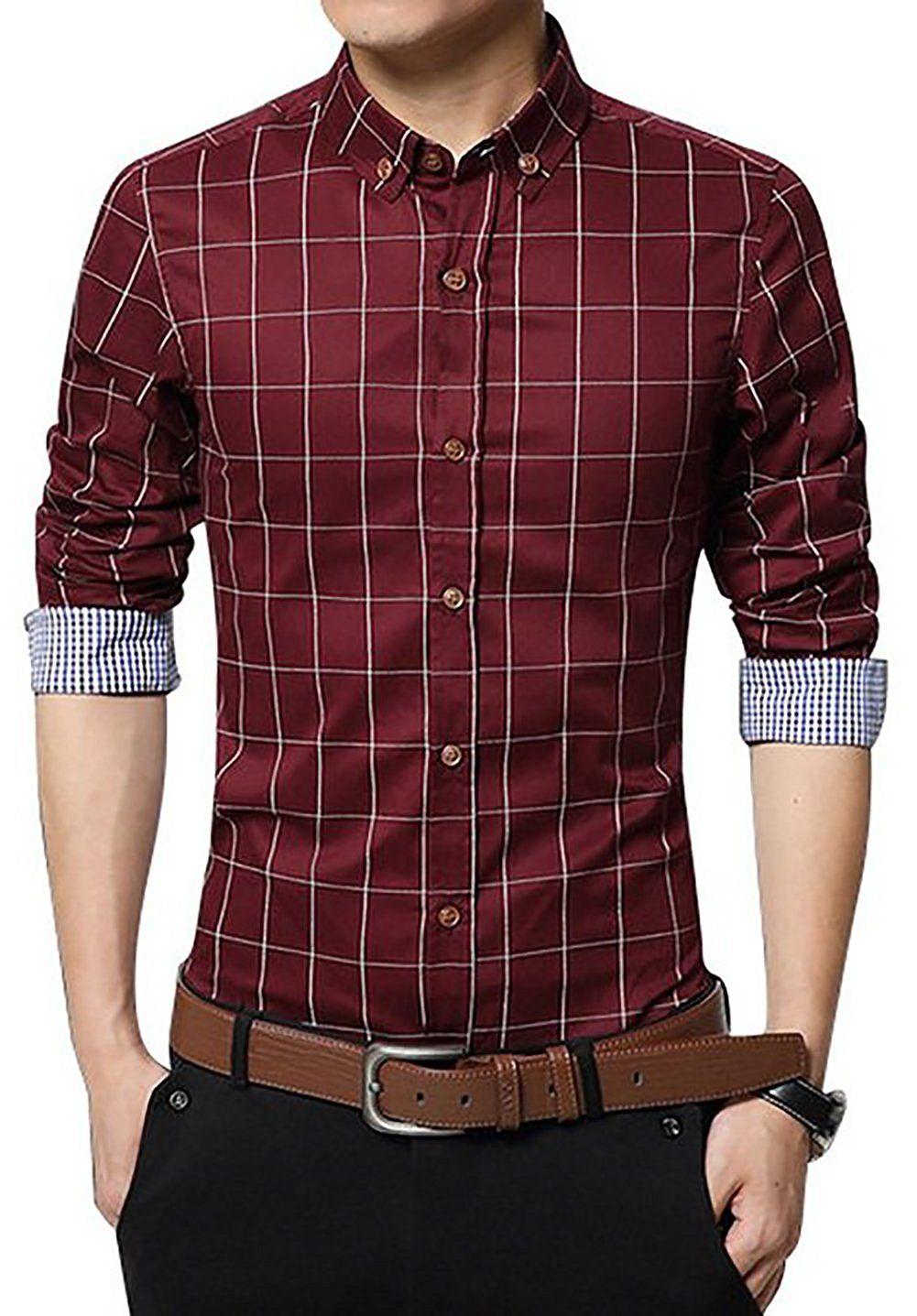 LOCALMODE Men's 100 Cotton Long Sleeve Plaid Slim Fit